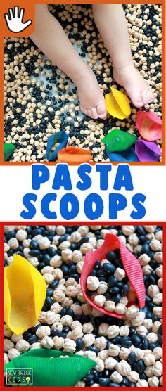 Pasta Scoops- A quick and easy sensory activity to promote fine motor skills and color identification! Designed for babies, toddlers, and preschoolers. Baby Sensory Bottles, Sensory Tubs, Sensory Play, Quiet Time Activities, Sensory Activities, Infant Activities, Indoor Activities, Toddler Class, Toddler Learning