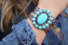The Anna ~ Vintage Turquoise Cuff Bracelet