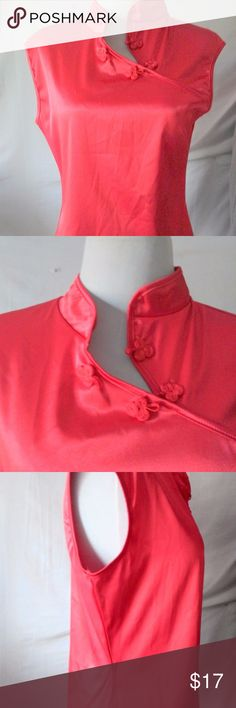"Rave Womans Oriental Shirt Red Mandarin Collar RAVE RED SATEEN  SLEEVELESS MANDARIN COLLAR BUST:19"" LENGTH:23"" Rave Tops Blouses"