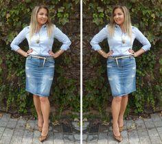 Look Work – Saia Lápis Jeans