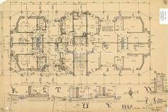 Mario Ridolfi - Pianta del piano attico rientrante, lotto III, blocco M, degli edifici a torre Ina Assicurazioni.