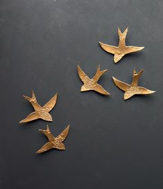 I bet I could make this... Swallows over Morocco Gold birds Wall sculpture Ceramic by PrinceDesignUK on Etsy