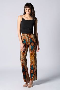 Straight leg trousers Printed Trouser Wax print by COLUFashion