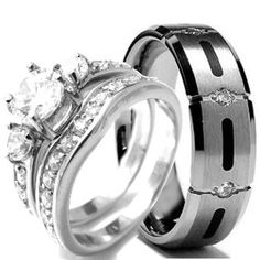 His and Hers Titanium Wedding Bands | Wedding rings set His and Hers TITANIUM & STAINLESS STEEL Engagement ...