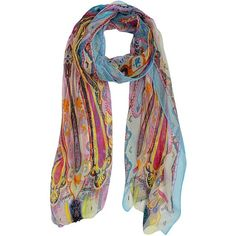 Blue Colorful Paisley Print Sheer Chiffon Scarf ($17) ❤ liked on Polyvore featuring accessories, scarves, blue, lightweight, boho scarves, colorful shawl, paisley shawl, colorful scarves and bohemian scarves