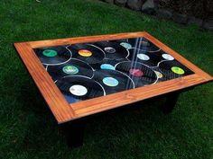 Vinyl LPs repurposed into coffee table