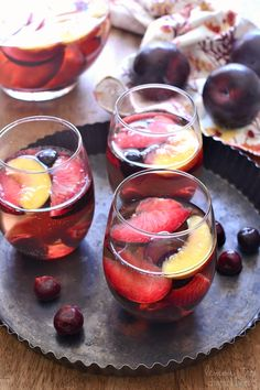 Plum Sangria is flavored with amaretto and packed with fresh plums ...