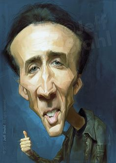 celebrity+caricatures | Celebrity Caricatures by Jeff Stahl - Nicolas Cage