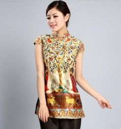 CF multis Top chinese silk womens dress/T-shirts cheongsam sz:6.8.10.12.14.16 | eBay