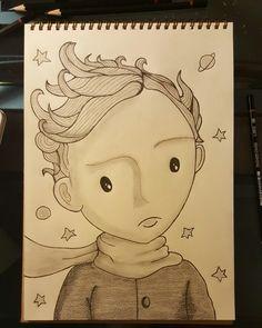 Le Petit Prince. The Little Prince. Küçük Prens. Charcoal drawing by Bengisu Yaman. Urla,Sanat Sokaği.