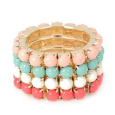 C07319 pink turqouise white peach pearl bangle