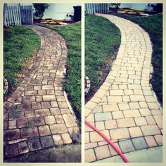 Before and after power washing walkway to the house call or text us for pressure washing services at 954 980 0454 !!!