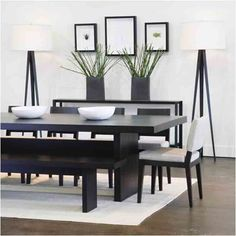 Wonderful Modern Dining Room Decorating Ideas for Small Space : Minimalist Black And White Small Dining Room