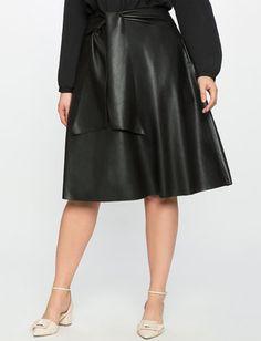 Studio Faux Leather Midi Skirt