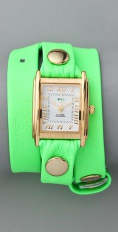 La Mer Collections Neon Simple Wrap Watch in Green