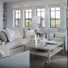 Another view of living room. Perfect colors & feeling for a beautiful beach abode!