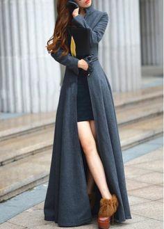 Beautiful Grey Zipper Fly Mandarin Collar Trench Coat, but not the shoes Long Grey Coat, Long Wool Coat, Long Trench Coat, Gray Coat, Hijab Style, Maxi Coat, Cool Outfits, Fashion Outfits, Woman Standing