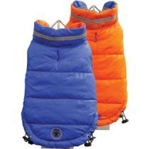 FouFou Dog Fou Ski Parka Dog Coat, Royal Blue/Orange, 3X-Large