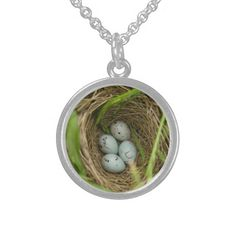 Red winged blackbird eggs in a nest pendant.