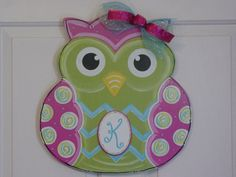 Hand Painted Wood OWL Door Hanger Wall Decor Pink Blue Lime Green AngelenesCollection on Etsy, $35.00