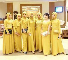 Yellow dress inspiration by Hijab Dress Party, Hijab Style Dress, Hijab Outfit, Dress Brokat, Kebaya Dress, Muslim Fashion, Hijab Fashion, Fashion Outfits, Dress Fashion