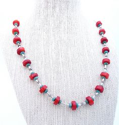 Natural Turquoise and Coral Necklace, Sterling Silver