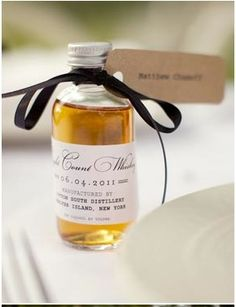 Whiskey favors with printed labels