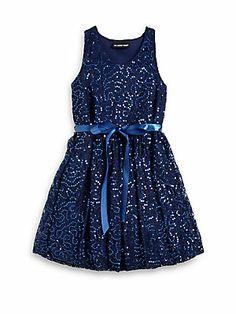 Un Deux Trois Girl's Sequin Lace Dress