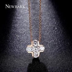 NEWBARK Classic Cross CZ Diamond Inlayed Necklace