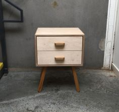 salvage - retro bedside table. Made from salvaged birch ply and oak.