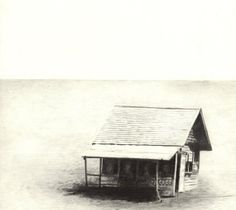 Drawing of House, Limited Edition Print of Pencil Original - Black & White, Desolate Landscape