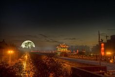 Full Moon Over Xi'an, China ~ picaccelerator