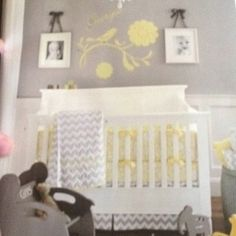 Girl nursery. Gray wall, breadboard or wainscoating, but with pink accents instead of yellow.