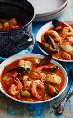 Load up your soup with prawn, mussels and monkfish to make Rick Stein's Californian classic. Sourdough toast is a must!