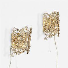J. & L. Lobmeyr sconces, pair Austria, c. 1970 crystal, brass 8 w x 3 d x 9 h inches