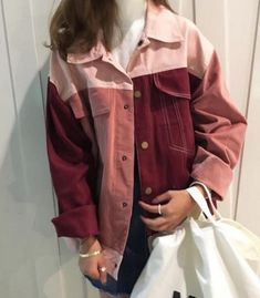 Itgirl shop patch colored pinky red denim jacket aesthetic a Aesthetic Fashion, Aesthetic Clothes, Look Fashion, Korean Fashion, Aesthetic Grunge, Tumblr Outfits, Mode Outfits, Fashion Outfits, Harajuku Fashion