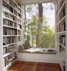 I always love a study with book shelves from floor to ceiling, a big window with a sitting area.. this is a place i can see myself spending all my time in..