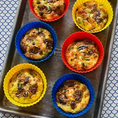 MADE (total yum) - Kalyn's Kitchen®: Baked Mini-Frittata Recipe with Mushrooms, Cottage Cheese, and Feta.  Tip from 1st time I made them - leave room in the muffin tins for the eggs to expand because they do.  I made using a regular size muffin tin sprayed with olive oil (yield: 12)