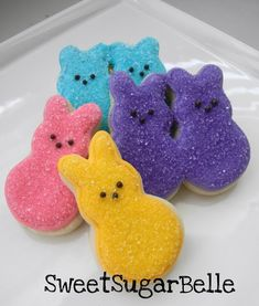 Easter Peeps Sugar Cookies From Easter Cookies, Easter Treats, Holiday Cookies, Holiday Treats, Holiday Fun, Valentine Cookies, Birthday Cookies, Christmas Treats, Holiday Recipes