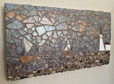 Italian tile Sailboats & Lighthouse Mosaic Fine Art on wood ⛵ #sail #sailboat #wallart #home #luxuryhome #homedecor #etsyshop #gift  https://www.etsy.com/listing/516744839/sail-away-sailboats-and-lighthouse
