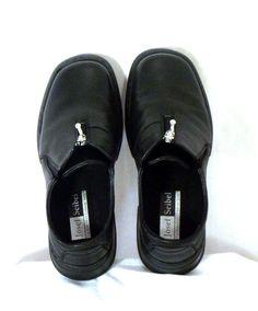 Josef Seibel womens black leather zip shoes 37 6-6.5 comfort #JosefSeibel #LoafersMoccasins