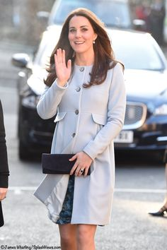 Kate in a pretty blue Seraphine Maternity coat for a coffee reception at Family Friends,