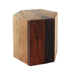 Get geometric with the Hex Wood Stool. Put the seat in a corner or pair it with other sizes to give your room a warm, earthy character.  Find the Hex Wood Stool - Medium, as seen in the Wooded Washroom Collection at http://dotandbo.com/collections/wooded-washroom?utm_source=pinterest&utm_medium=organic&db_sku=HMA0047-medium