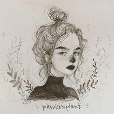 Ideas art design illustration inspiration paintings for 2019 Inspiration Art, Art Inspo, Art And Illustration, Cute Drawings, Drawing Sketches, Drawing Faces, Drawing Hair, Drawing Style, Drawings Of Girls Faces