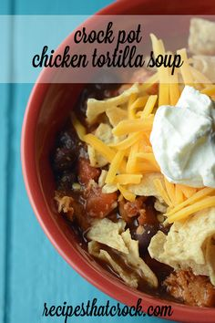 Crock Pot Chicken Tortilla Soup- Such a great fall recipe full of flavor thanks to the slow cooker! #CrockPot