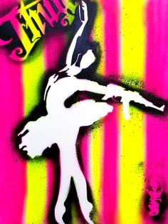 AK 47 DANCE:Pochoir original signé papier 200gr 5OX65 cm 250€.