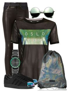 """""""Holographic"""" by elona-makavelli ❤ liked on Polyvore featuring rag & bone, Topshop, DKNY, adidas Originals and Revo"""