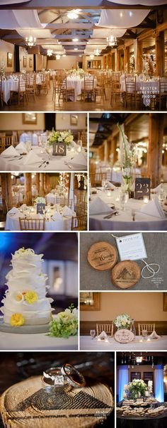 Lord Hill Farms country rustic wedding in Seattle, WA; handmade coasters; Creative Tactics Unlimited grooms wedding band; Top Pot Doughnuts; gladiolas, lillies, yellow and grey; Kristen Honeycutt Photography