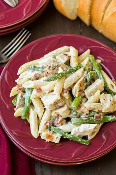 Creamy Chicken and Asparagus Pasta - Cooking Classy Pasta Recipes, Chicken Recipes, Dinner Recipes, Cooking Recipes, Healthy Recipes, Cooking Ideas, Healthy Meals, Dinner Ideas, Chicken Asparagus Pasta