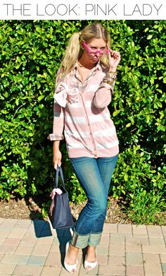 Look of the Week: Pink Lady via Blonder Ambitions {www.blonderambitions.com} fashion. style. girly. pink. glasses. cardigan.